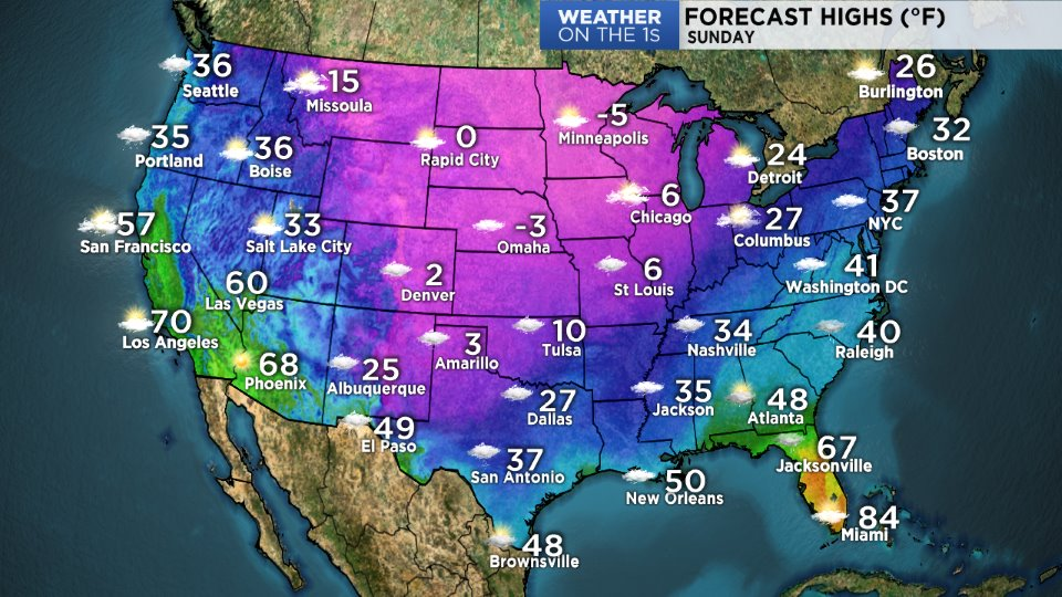 Winter Storm Cleon Record Lows US Weather Map Today Is - Us weather travel map